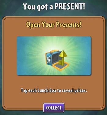 Yetis drop lunchboxes with prizes. Don't expect to get this, though; they deleted keys from the game.