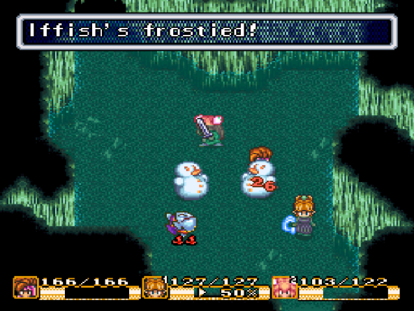 The game's elemental magic system lets you build snowmen! Out of the dying corpses of your foes, nonetheless.