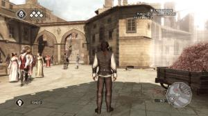 Ezio staring at the hand of the King of the Cosmos, which could easily go unnoticed as the player doesn't need to focus on much except the radar in the lower-right.