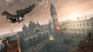 Ezio flying on a da Vinci prototype. I wanted to make a joke on decoding, but they actually have Leonardo crack codes--with all seriousness--regularly in the game.