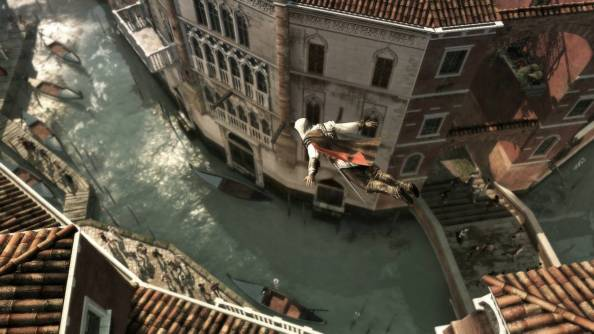 Ezio enjoys fine wine, long walks on the rooftop, and flinging himself off towering buildings as if a plate of steel and a pile of hay will help him survive.