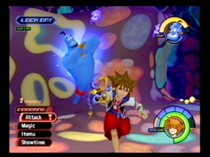 Genie fighting monsters in a psychadelic whale bowel. Because it makes sense.
