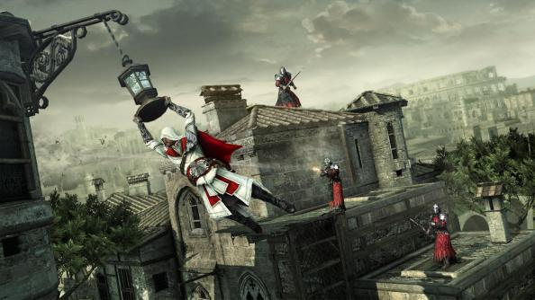 "New to the running and jumping, Ezio can swing 90 degrees, reaching new heights of ""hold down X"" gameplay."