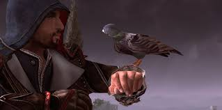 Ezio communicates with his lackeys by giving information to a little bird to tell them.