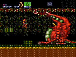 So giant flabby monsters can stand on shoddy masonry, but Samus weighs so much she just goes crashing through?