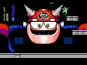 Yep. You totally beat the final boss by dropping snakes into the cockpit with Dr. Wily.