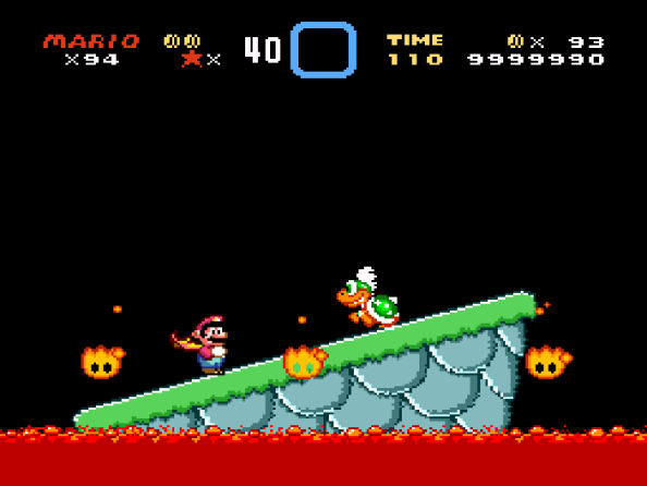 Try this, if you will...we know Mario will head straight toward the boss room, right? How about you take out the platform entirely and have Larry watch via CCTV from another room?