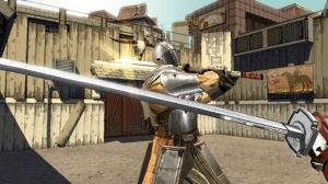 """Note: carrying your sword like a baseball bat only tends to open up your """"strike zone."""""""